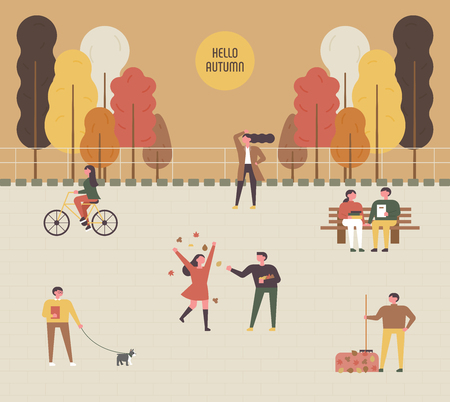 autumn park people characters. flat design style minimal