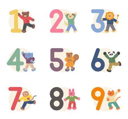 Animales lindos con una tarjeta de número. Ilustración del concepto de personificación animal para la educación de los niños.