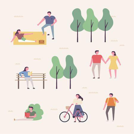 People are walking the park effortlessly. Vertical arrangement.