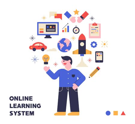 icons and student characters for the online education system
