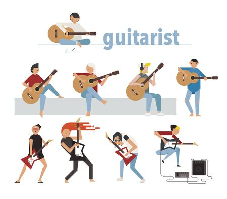 Guitarists playing acoustic and electric guitars. flat design style minimal vector illustration. Ilustración de vector
