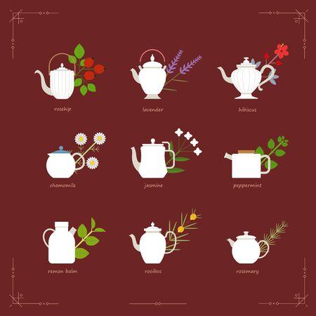 Herbal tea menus. Elegant teapots in various forms. flat design style minimal vector illustration.