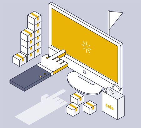 Web-Shopping. Linienzeichnung Geschäftskonzept isometrisches Design. minimale Vektorillustration des flachen Designstils.
