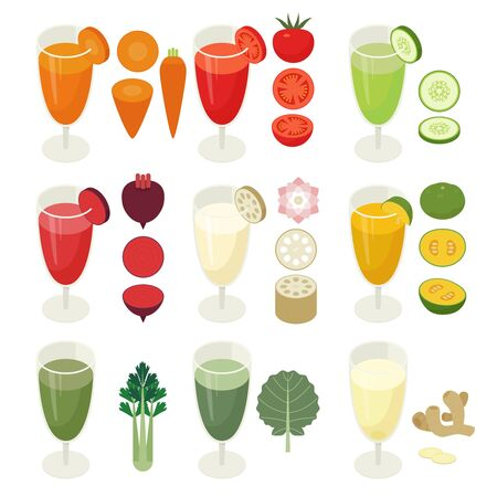 Isometric design of vegetable beverages in a juice cup. Vegetable icons. flat design style minimal vector illustration. Stock Vector - 127580976