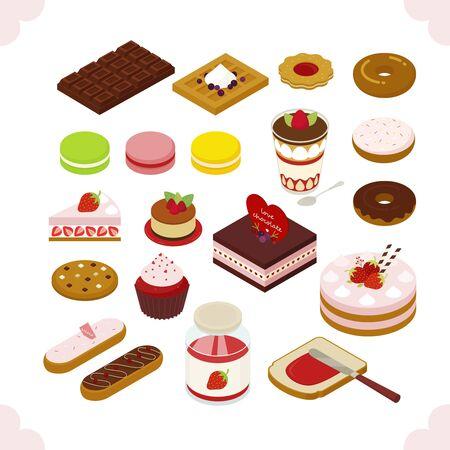 Sweet cake isometric design. flat design style minimal vector illustration.