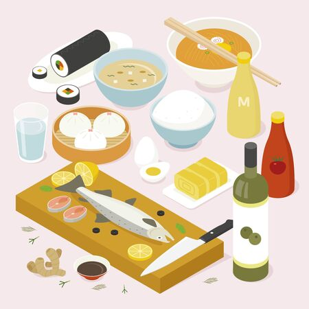 Isometric design of various Asian foods. flat design style minimal vector illustration.