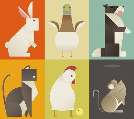 Cute farm animals card. flat design style minimal vector illustration. Vecteurs