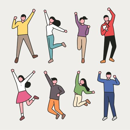 Young people jumping set. Flat design style minimal  illustration.