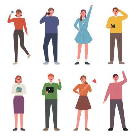 Una colección de personajes llena de juventud y entusiasmo. Ilustración mínima de estilo de diseño plano.