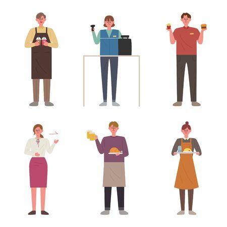 People with various occupation. Flat design style minimal illustration. Ilustração Vetorial