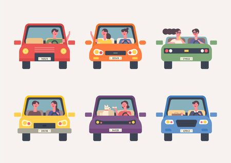People driving set. Front view. Flat design style minimal  illustration.