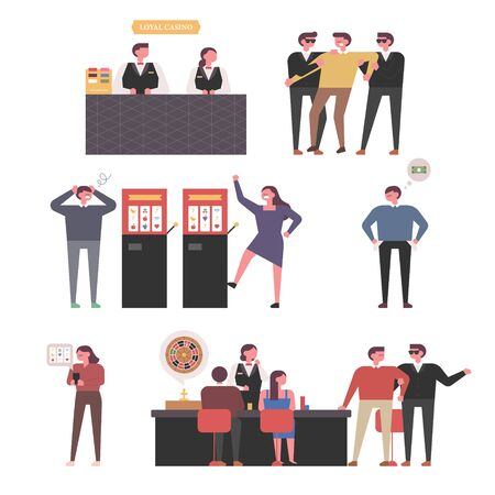 Illustration set of people at a casino. Flat design style minimal  illustration.