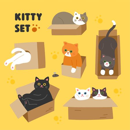 Set of cute cats. Flat design style minimal illustration.
