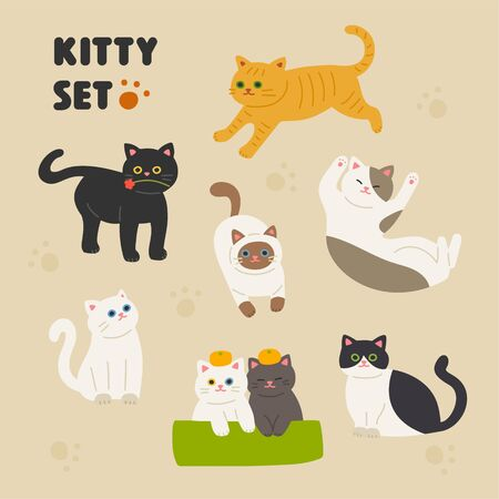 Set of cute cats. Flat design style minimal  illustration.