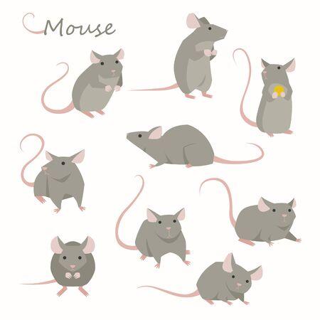 Cute mouse character set. Flat design style   illustration. Ilustração