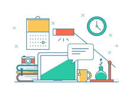 Umriss-Stil-Schreibtisch-Einstellung Abbildung. Flache Design-Stil-Darstellung. Vektorgrafik