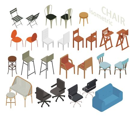 Set of isometric furniture in various chair styles. flat design style  illustration.