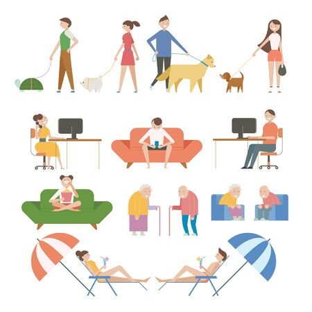Characters of various lifestyles. flat design style  illustration.