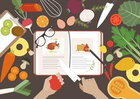 A table with recipe books spread out and dizzy with vegetables. flat design style minimal vector illustration.
