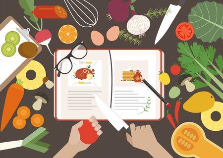 Una mesa con recetarios desparramados y mareados con verduras. Ilustración de vector mínimo de estilo de diseño plano. Ilustración de vector