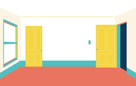Walled doors and empty rooms. flat design style minimal vector illustration.
