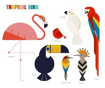 tropical bird set. flat design style minimal vector illustration.