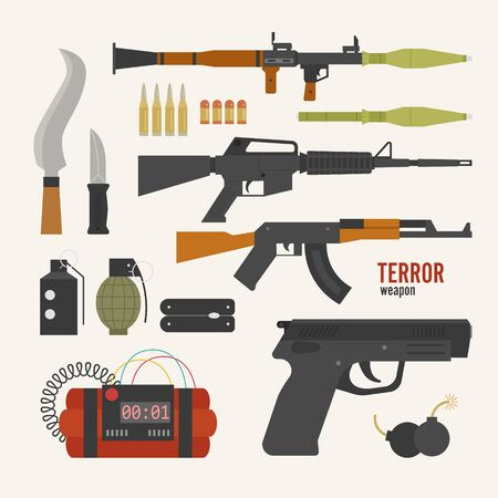 Terrorist weapon types. flat design style minimal vector illustration. Ilustrace