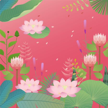 Tropical leaves and lotus background design. flat design style minimal vector illustration.