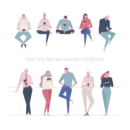 Various people characters using mobile phones. flat design style minimal vector illustration. 일러스트