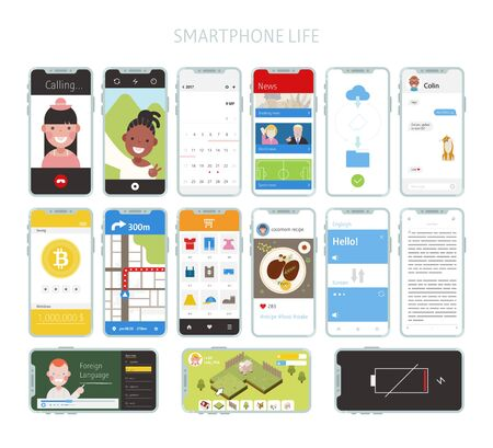 Lifestyle and mobile features. flat design style minimal vector illustration.