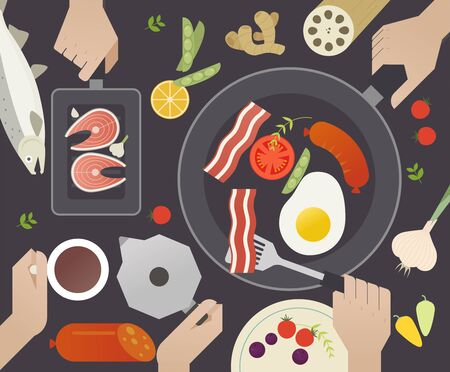 They are making various foods on the pan. Top view and cooking hands.flat design style minimal vector illustration.