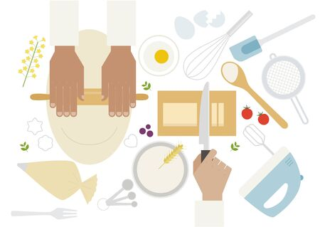 Hands kneading and cutting butter and cooking utensils on the table. flat design style minimal vector illustration.