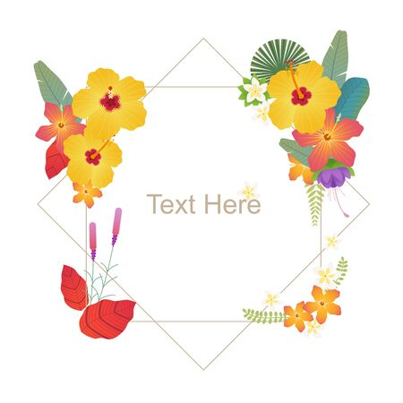 Tropical floral card template. flat design style minimal vector illustration.