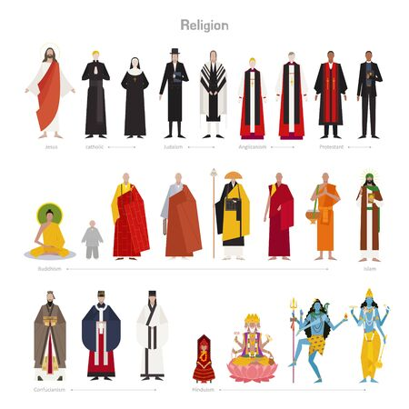 Gods and priests of various religions. flat design style minimal vector illustration. 向量圖像