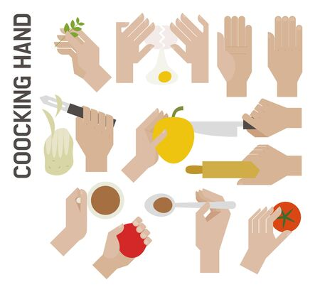 Cooking hands set. flat design style minimal vector illustration.