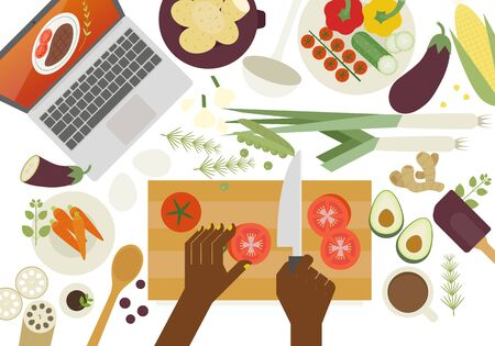 Hands with laptop spread out and cook. Vegetables on the table. flat design style minimal vector illustration. Illustration
