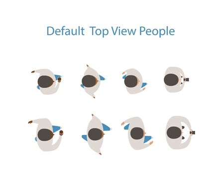 Top view people. flat design style minimal vector illustration. 일러스트