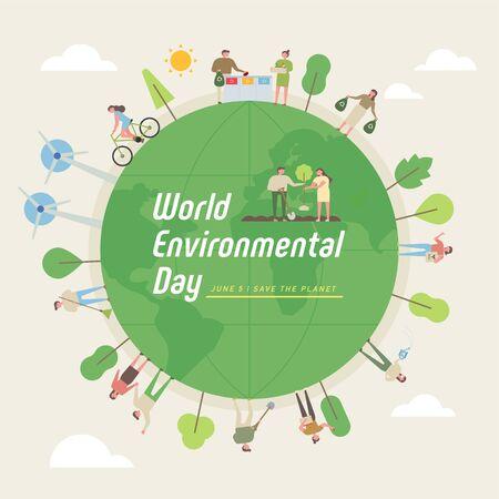 Milieubescherming poster. Mensen rond de aarde. platte ontwerpstijl minimale vectorillustratie.