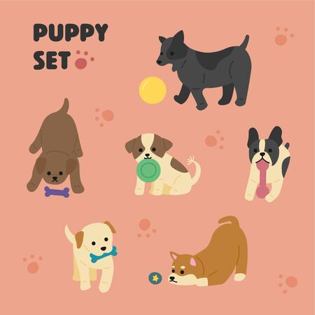 Cute puppies playing with toys Handwriting style illustration. flat design style minimal vector illustration.