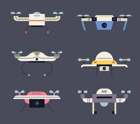Different types of drones. flat design style minimal vector illustration.