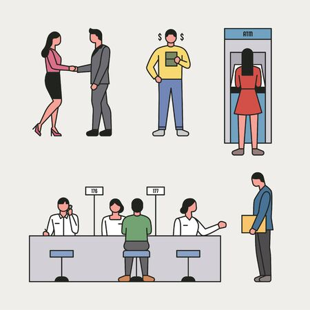 Employees and customers who work in banks. flat design style minimal vector illustration.
