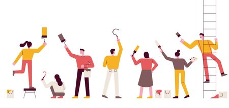 People are standing in line, holding paint brushes and painting the wall. flat design style minimal vector illustration.