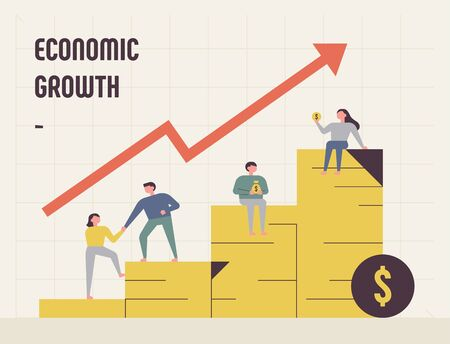 Poster showing economic growth. Coin graph and people going up. flat design style minimal vector illustration.