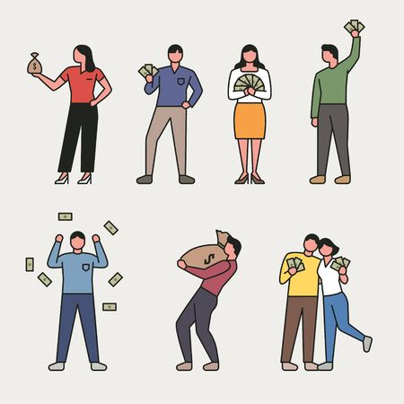 People holding a bunch of money. flat design style minimal vector illustration.