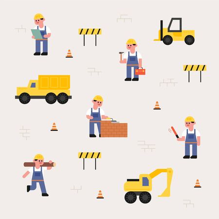 Cute characters and heavy equipment at the construction site. flat design style minimal vector illustration.