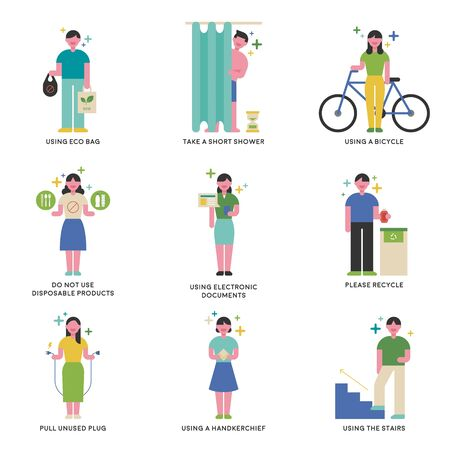 Various ways to protect the environment Information character. flat design style minimal vector illustration. 写真素材 - 130030856