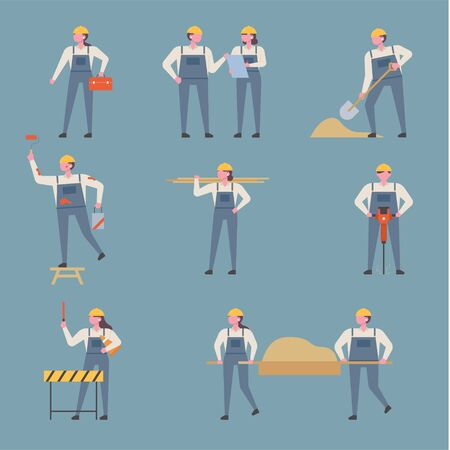 Set of many people characters working at the construction site. flat design style minimal vector illustration.