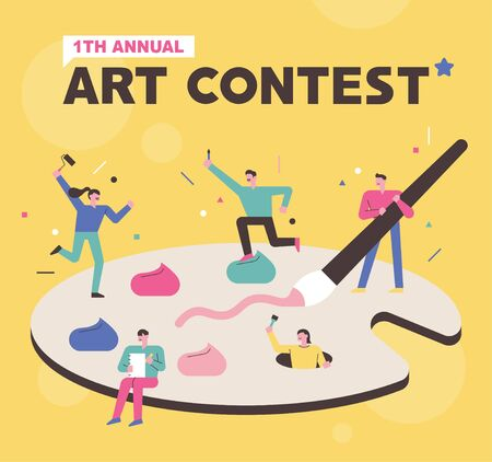 Art contest poster concept. People are painting on a huge palette. flat design style minimal vector illustration.