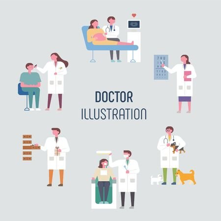 Doctors who treat different parts of patients. flat design style minimal vector illustration. Ilustrace