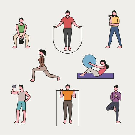 People outline character exercising in gym. flat design style minimal vector illustration.